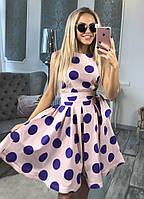 Платье миди в стиле беби-дол без рукавов принт горох и пояс в комплекте