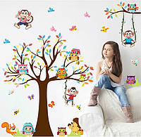 Наклейка виниловая Совы на дереве