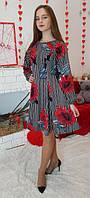 Платье детское подростковое Рыбка красный цветок полоска 146, 152, 158, 164см