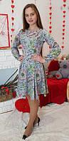 Платье детское подростковое Рыбка серое в цвети 146, 152, 158, 164см