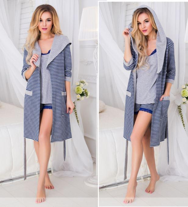 306d44809d5f Женский домашний комплект-пижама-тройка (халат+майка+шорты). 3 цвета ...