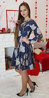 Платье детское подростковое Рыбка синее в тюльпан 146, 152, 158, 164см