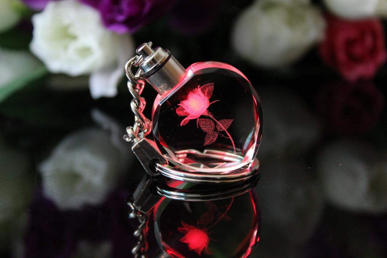 """Красивый необычный брелок женский """"Светящаяся роза""""!"""