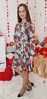 Платье детское подростковое Рыбка серое в рози 146, 152, 158, 164см