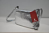 Клатч кожаный женский Vera Pelle 0174-1378 цвета серебристый металлик