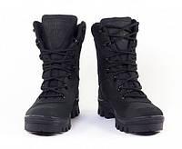 Берцы зимние с каблуком, водостойкие, кожаные, Offroad 3з черные, фото 1