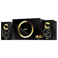 Колонки 2.1 Sven MS-1086 Black/Gold, сателлиты 2 x 14 Вт, сабвуфер 20 Вт, МДФ, разъем для наушников и микрофона, питание от сети 220V, управление на
