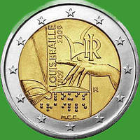 Италия 2 евро 2009 г. 200 со дня рождеия Луи Брайля. UNC