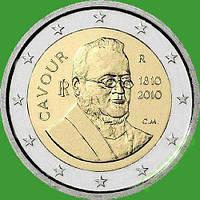 Италия 2 евро 2010 г. 200 со дня рождения Камилло Кавура. UNC