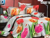 """Полуторное постельное белье """"Крупные тюльпаны"""""""