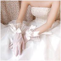 Шикарные женские свадебные перчатки белого цвета, короткие, закрытые, с бантами