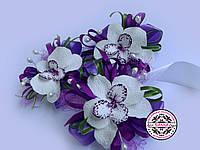 Набор для свидетелей, бутоньерка для жениха, сиреневая орхидея, бутоньерка с фиолетовой орхидеей.