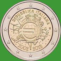 Италия 2 евро 2012 г. 10 лет наличному обращению евро . UNC.