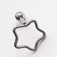 """Микроштанга 6 мм """"Звезда"""" для пирсинга хряща уха. Медицинская сталь., фото 1"""