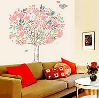 Наклейка виниловая Дерево с птичками