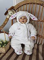 Велюровый утепленный комбинезон для новорожденных Зайка