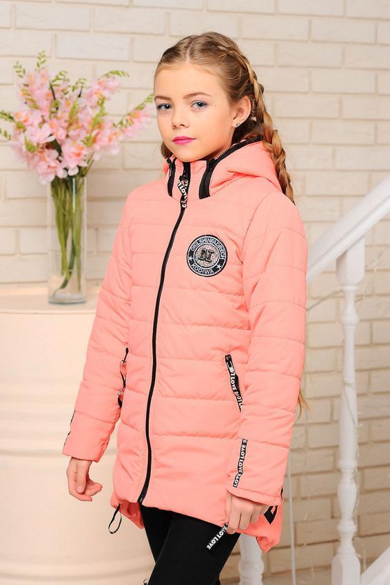 Детская демисезонная куртка на девочку, персик, р.116-140