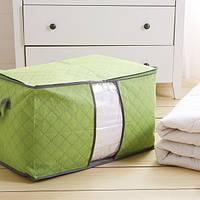 Органайзер для одежды, постельного белья бамбук салатовый