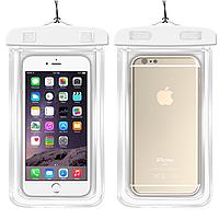 """НАДЕЖНЫЙ Флуорисцентный водонепроницаемый чехол для смартфона, телефона или iphone, до 6"""" белый"""