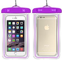 """НАДЕЖНЫЙ Флуорисцентный водонепроницаемый чехол для смартфона, телефона или iphone, до 6"""" фиолетовый"""