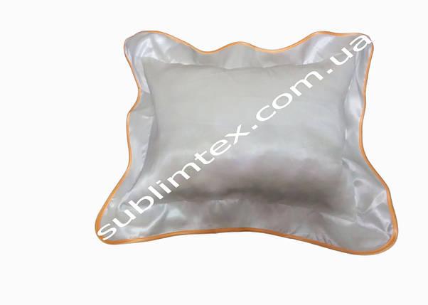 Подушка атласная,искусственный наполнитель,метод печати сублимация,размер 35х45см, Кайма оранжевая, фото 2