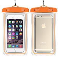 """НАДЕЖНЫЙ Флуорисцентный водонепроницаемый чехол для смартфона, телефона или iphone, до 6"""" оранжевый"""