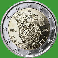 Италия 2 евро 2014 г. 200 лет итальянским карабинерам. UNC