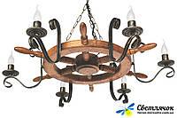 Деревянная люстра Штурвал старая бронза на 6 ламп