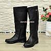 Сапоги-трубы женские кожаные демисезонные черного цвета, фото 3