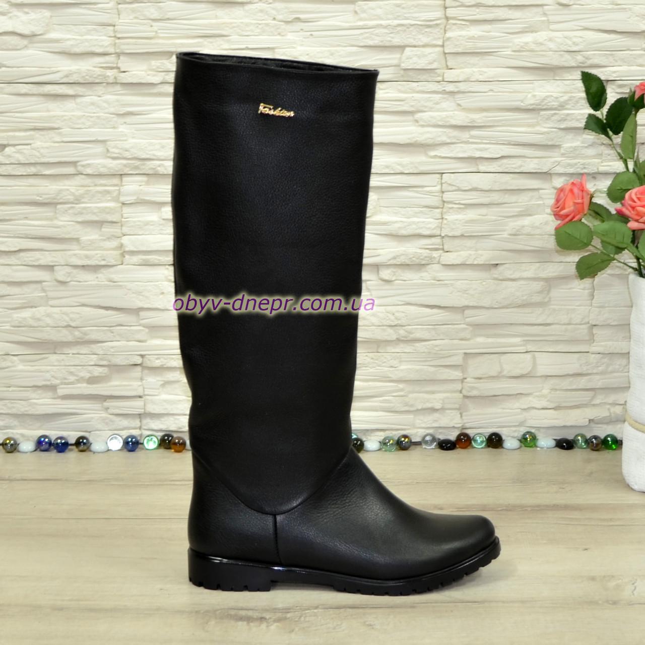 Сапоги-трубы женские кожаные черного цвета