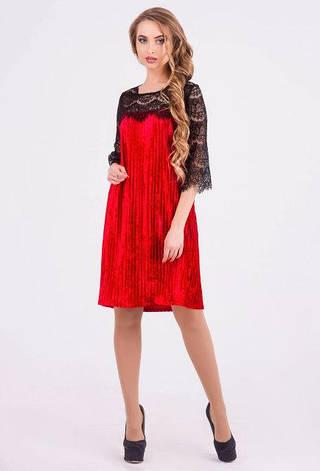 Нарядное платье женское Лайма велюр красный  цвет  размер 42,44,46,48, фото 2