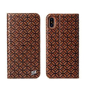 Чехол книжка для Apple iPhone X | iPhone 10 боковой из натуральной кожи FIERRE SHANN, Coin Texture, Коричневый