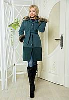 Женское зимнее кашемировое пальто с воротником и мехом