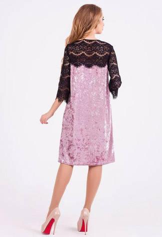 Нарядное платье женское Лайма велюр  пудра цвет  размер 42,44,46,48, фото 2