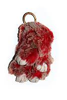 Меховой брелок Кролик меланж Зайчик, красный, 20 см