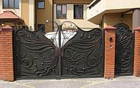 Кованые распашные ворота с калиткой, код: 01031