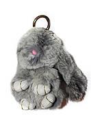 Меховой брелок Кролик меланж Зайчик (средний), серый, 15см