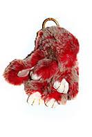 Меховой брелок Кролик меланж Зайчик (средний), красный, 15см