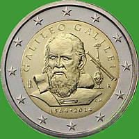 Италия 2 евро 2014 г. 450 лет со дня рождеия Галилео Галилея. UNC