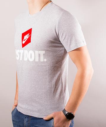 Серая мужская футболка Nike (Найк) just do it | 100 % хлопок, размеры: 44-52, фото 2