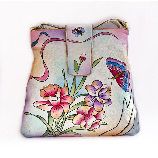 Кожаные сумки с цветами