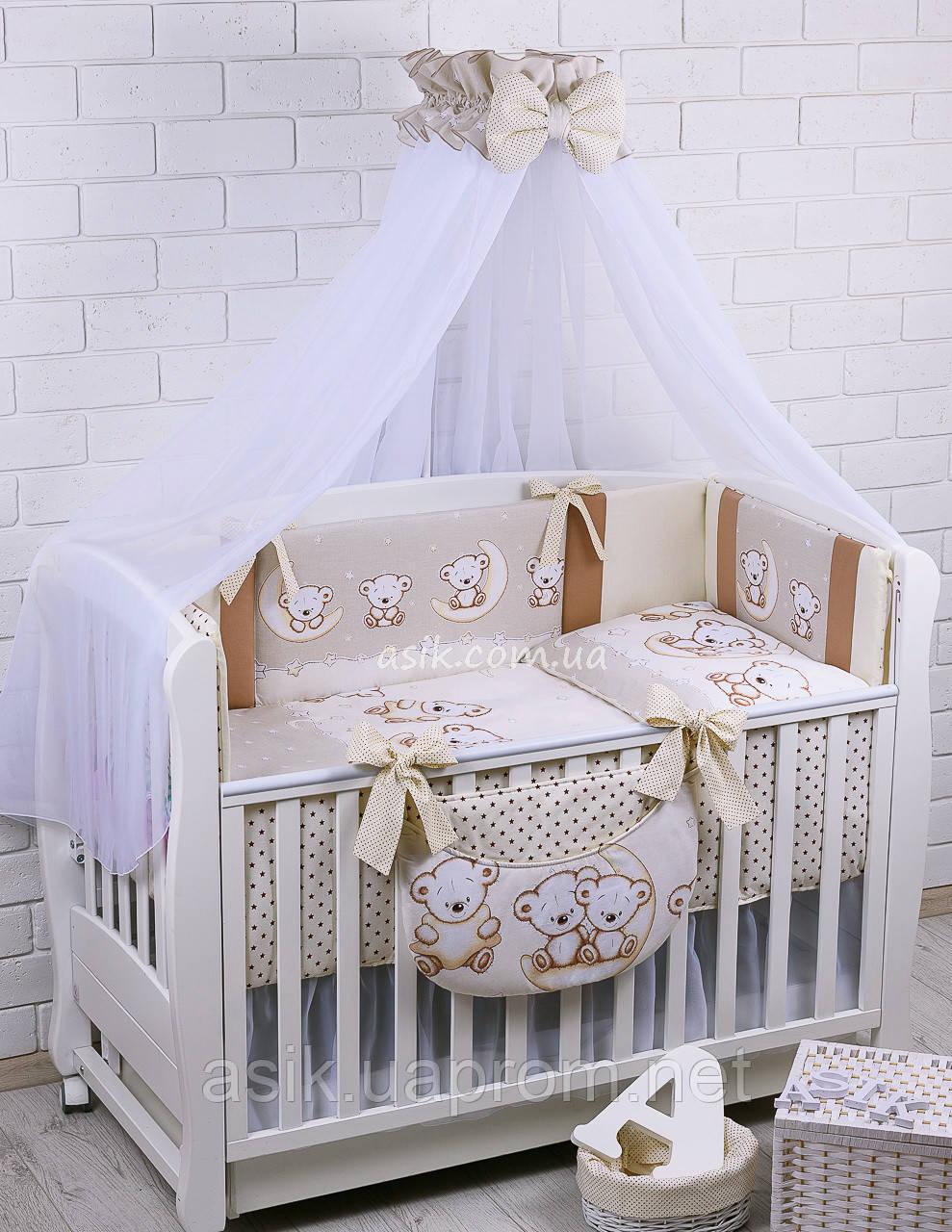 Комплект постельного белья Asik Мишки на луне ванильно-коричневого цвета 8 предметов (8-284)