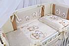 Комплект постельного белья Asik Мишки на луне ванильно-коричневого цвета 8 предметов (8-284), фото 2