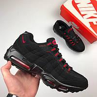 Мужские кроссовки Nike Air Max (черные с красным), ТОП-реплика, фото 1