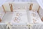 Комплект постельного белья Asik Мишки на луне ванильно-коричневого цвета 8 предметов (8-284), фото 4