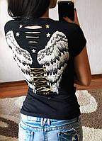 """Женская футболка""""Крылья"""" с декорированными вырезами, в расцветках, Турция, фото 1"""