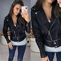 Стильная укороченная женская кожаная куртка-косуха фабричный китай