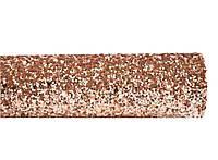 Розовое золото (Золотая) ткань с крупным глиттером (блестками) искусственная кожа (кожзам) 20x25 см , фото 1