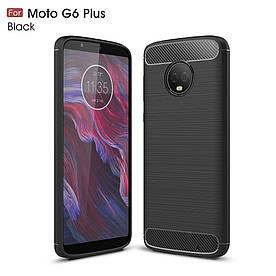 Чехол накладка для Motorola Moto G6 Plus силиконовый, Carbon Fibre, Черный