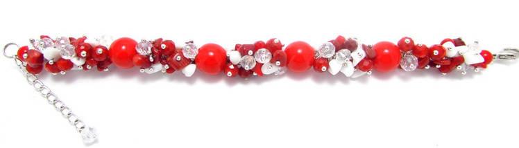 Браслет Коралл красный и белый 12мм, фото 3
